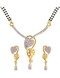 Mt0084 White Gold & Rhodium Plated American Diamond Mangalsutra Pendant With Chain And Earrings For Women