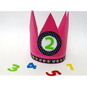 Geburtstagskrone in pink und blau mit 3 auswechselbaren Zahlen und Gummizug / Einheitsgröße