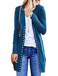 Damen Strickjacke Lang Strickmantel Cardigan Strickcardigan Damen V Ausschnitt Casual Pulli Sweater Jacke Outwear Langarm Lose mit Knopf Strick Cardigan