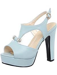 RAZAMAZA Mujer Peep Toe Sandalias de Fiesta Moda Plataforma Tacon Alto  Slingback Zapatos de Hebilla c00c49a14f08