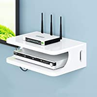 YYHSND Wall-mounted Bracket Bracket TV Box Set-top Box Modem Cable Box DVD Player For WiFi Router Player Streaming Device Wall Mount Shelf (Color : White)