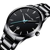 Herren Uhren Männer Wasserdicht Luxus Klassisch Datum Schwarz Edelstahl Armbanduhren Mann Einfach Analog Quarzwerk Uhr mit Blau Zeiger