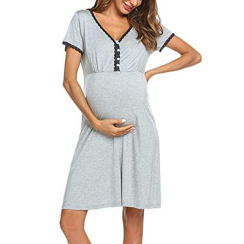 Topgrowth camicia da notte allattamento vestiti premaman pigiama donna abito manica corta premaman maternità infermieristica allattamento vestito di gravidanza pizzo sleepwear