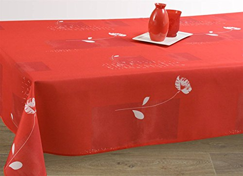 Nappe anti-taches Coquelicot rouge - taille : Ovale 150x240 cm