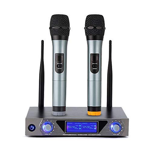 UHF Funkmikrofon Set, Wireless Mikrofon System Karaoke Anlage Mikrofon Professional Drahtlos Mikrofonsystem mit 2 Dual Kanal Handheld Mikrofon LCD Display für Outdoor Hochzeit, Konferenz, Karaoke usw.