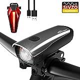 Toptrek Fahrradlicht StVZO Zugelassen LED Fahrradbeleuchtung Set akku USB Wiederaufladbare IPX5 Wasserdicht Samsung Li-ion Batterie CREE LED Fahrradlampe