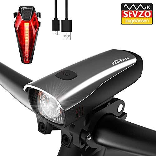 toptrek Fahrradlicht StVZO Zugelassen LED Fahrradbeleuchtung Set akku USB Wiederaufladbare IPX5 Wasserdicht Samsung Li-ion Batterie CREE LED Fahrradlampe (LF10 Silber)