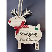 FSSS Ltd PERSONALISED TEACHER THANK YOU WOODEN REINDEER RUDOLPH CHRISTMAS XMAS TREE DECORATION GIFT CRAFT (RED HEART GEM NOSE)
