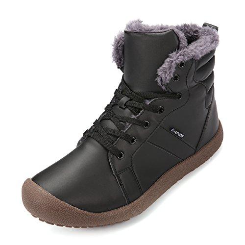 Kurzschaft Stiefel, Gracosy Unisex WinterStiefel Wasserdicht Outdoor Schneestiefel Stiefelette Schnürhalbschuhe Leder Schuhe Schwarz 43