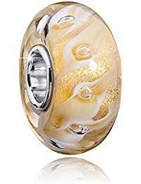 Materia Muranoglas Beads Gold Glitter Element - 925 Silber Glitzer Beads Glas für European Beads Armband #1593
