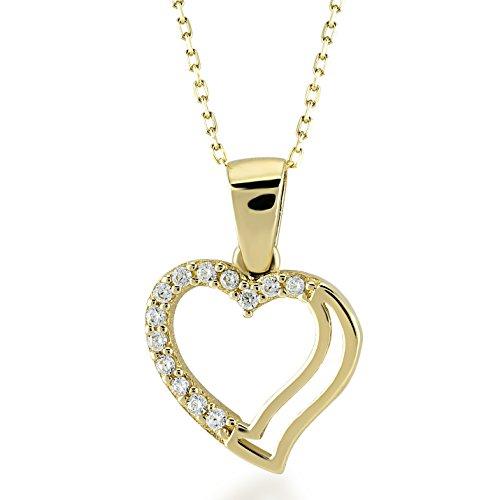 Damen Halskette 14 Karat / 585 Echt Gelbgold Herz verziehrt mit kubisches Zirkonia/Kette 45cm