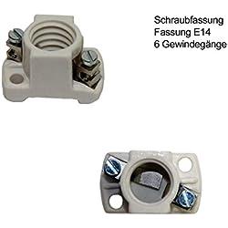 Keramik Fassung für E14 Lampen - Sockel Fassung mit 6 Gewindegänge für E-14 Glühbirnen, LED Lampen mit maximal 60 Volt / 2 Ampere - Lampenfassung Schraubanschluss und Sockel 35 x 20 mm