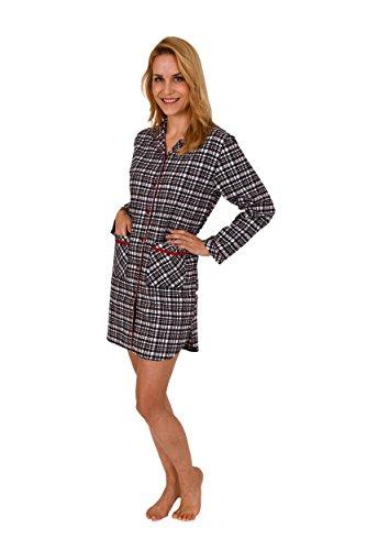 Damen Flanell Nachthemd langarm im Karo Design mit aufgesetzten Taschen - 271 213 95 002, Größe:44/46;Farbe:marine (Tasche, Flanell)