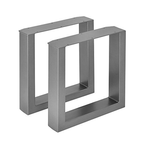 [en.casa] 2X Tischgestell 40 x 43cm Stahlgrau Bankgestell Bank Untergestell Tischkufen Pulverbeschichtet Viereckig Quadratisch