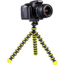 Mygadget Mini Trípode de mesa para Cámara con Placa [360 °] de liberación rápida - Soporte estabilizador flexible para GoPro, Nikon, Canon etc. Negro & Amarillo