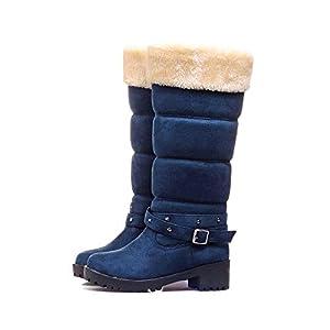 GAOQQ Winter Damenstiefel Breites Kalb, Flache Griffsohle Pelz Gefüttert Warme Lange Schneestiefel