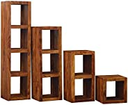 DEMIWAL Sheesham Wood Storage Bookcase Shelves and Display Rack Shelf for Home Living Room Study Room Set of 4