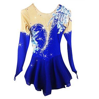 Heart&M Handgemacht Eiskunstlauf Kleid für Mädchen Damen Eislaufen Wettbewerb Kostüm Rollschuhkleid Mint Applikation Kristalle Langärmelige Blau, S
