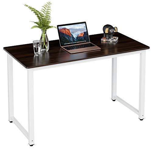 Homfa Schreibtisch Esszimmertisch 120x60x75.5cm(BxTxH) Computertisch Bürotisch aus Holz Metall Braun Weiß