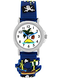 Pacific Time Kinder-Armbanduhr Piraten Armbanduhr Kinder Jungen Pirat Jungs Kinderuhren Uhren Lernuhr blaue Zeiger Uhr Kinderarmbanduhr Kinderuhr analog Quarz blau 200921