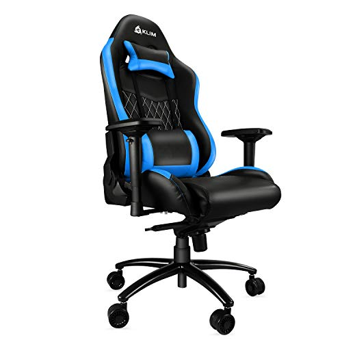 KLIM Esports Gaming Stuhl - Qualitativ Hochwertiger - Ergonomisch Sessel Racer Gamer PC Office Chair - Genaue Verarbeitung - Einstellbar - Blau Polsterung 2019 Version