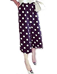 Rooliums (Brand Factory Outlet Women's Trendy and Stylish Polka Dot Printed Culottes/Palazzo Capri- Free Size (Blue Polka Dot)