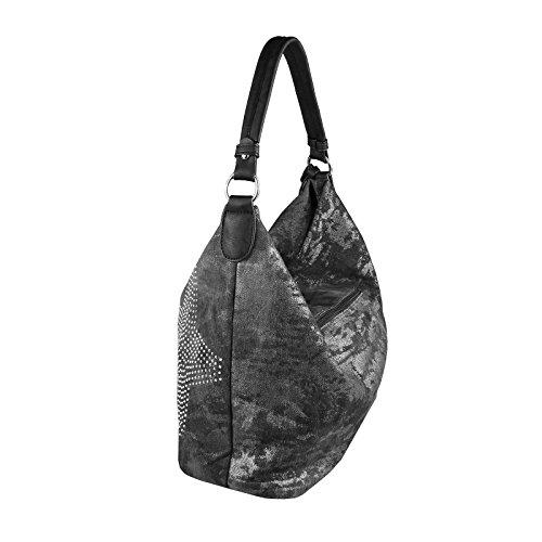 OBC ital-design XXL Damen Stern Tasche Fransen Handtasche Canvas Baumwolle Strasssteine Gold-Silber Bowling Beuteltasche Hobo-Bag Henkel Shopper CrossOver (Blau-Silber) Schwarz