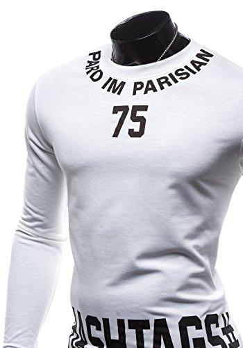BOLF Longsleeve Herrenshirt Figurbetont Langarm GLO-STORY 7321 Weiß
