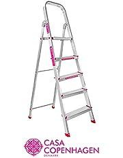 Casa Copenhagen Eternal Classic 2019, Ultra-Stable 5-Step Foldable Aluminium Ladder, 160 cm/5.25 ft/10 X 10 inch, Silver