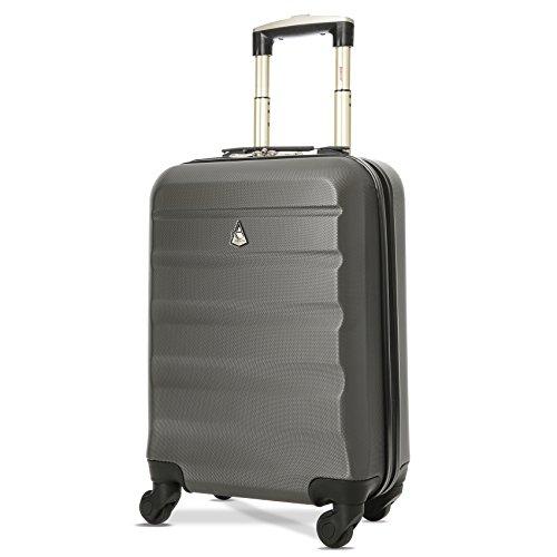Trolley Aerolite ABS - bagaglio a mano 55x35x20 cm - Valigia rigida, guscio duro e antigraffio con 4 ruote. Ideale a bordo di Ryanair, Alitalia, Meridiana, EasyJet, WizzAir. (Colore: grigio carbone)