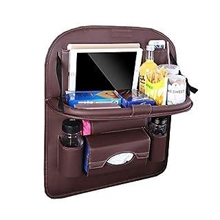 Boqi935 1 Pcs Car Seat Back Organizer Bag Storage Travel Multi-Pocket Universal PU Leather Back Seat Protector Auto Accessoires Red Wine