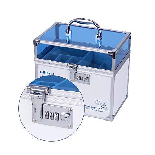 41FxXcDXkdL - Caja de seguridad para medicamentos con cerradura para el cuidado de la salud, joyería, organizador de armario con combinación - doble capa