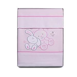 f/ür Wiege 50/x 80 cm,/100 /% Baumwolle Pekitas Bebe feine Bettw/äsche 3-teilig hergestellt in Spanien Rosa