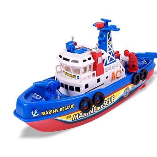 YRE Creative Kids Elektro-Feuerwehrboot Spielzeug, Musik Leuchtend Sprinklermodel See-Spielzeug-Boot, Geburtstagsgeschenk