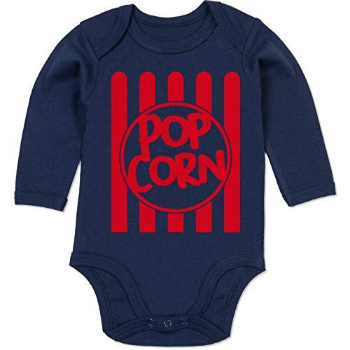 Shirtracer Karneval und Fasching Baby - Popcorn Karneval Kostüm - 6-12 Monate - Navy Blau - BZ30 - Baby Body Langarm