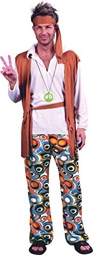 Erwachsene 60 's Peace Hippie Man Fancy Dress Party Kostüm Groovy Flower Outfit UK