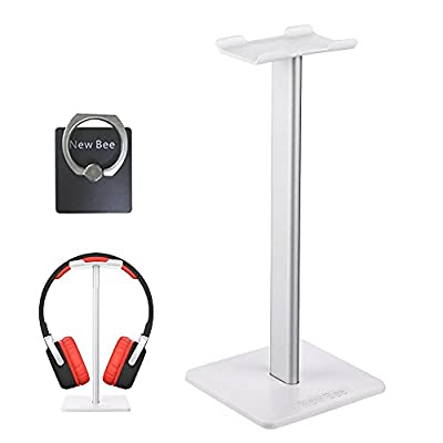 New Bee Headphone Stand Headset Holder Earphone Stand with Aluminum Supporting Bar Flexible Headrest ABS Solid Base for All Headphones Size
