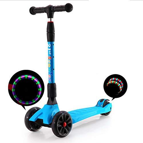 TX Patín Plegable para Niños Scooter Triciclo Trolley para Niños Ruedas De Flash Multifunción,Azul