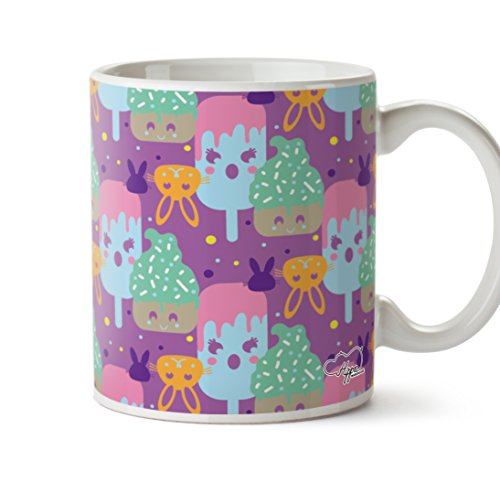 Kawaii Cupcake Kaninchen Muster bedruckt Tasse 284 ml Keramiktasse, keramik, Lilac, One Size (10oz) (Pop-art-make-up-kostüm)