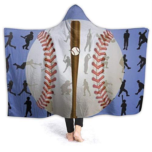 XXWK Kuscheldecken Überwürfe Decken Hooded Throw Blanket Fleece Blanket Baseball Lightweight Faux Fur Wearable Throw Blanket Super Soft Cozy Microfiber Blanket for Adult and Kid