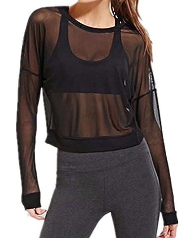 StyleDome Femme Mesh Shirt Minces Manches Longues Col Rond Transparent Casual Haut Tops Blouse Chemise à Clube Noir EU 36