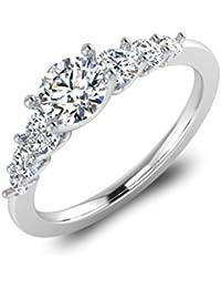 IskiUski White Gold And American Diamond Ring For Women - B075VH9QH5