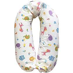 Merrymama-Cuscino allattamento e gravidanza + fodera con lacci/cm 190 (imbottito in microgranuli di polistirene ignifugo), Zoo Sfondo Bianco