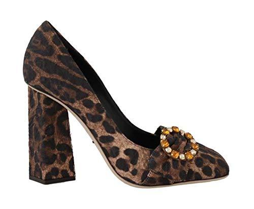 Dolce & Gabbana - Damen Schuhe - Pumps Brown Brocade Leopard Crystal Pumps- EU 39
