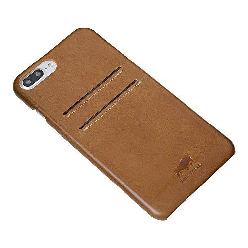 "Solo Pelle iPhone 7 Plus / 8 Plus Case Lederhülle Ledertasche Backcover "" Slimfit "" in Vintage Braun Cognac Braun"