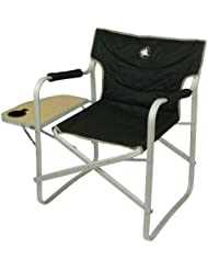 10T Outdoor Equipment Stagedirector - Silla plegable estilo director con bandeja de madera para camping, color negro y beige