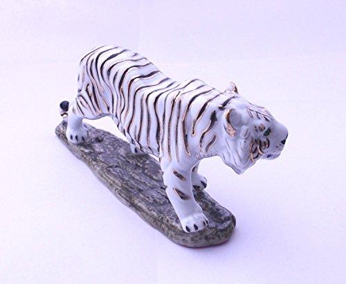 DELICATE Feng Shui Tiger- Handgefertigt und Verziert chinesischem Porzellan, Figur 110118. Height x Width x Depth: 3.1 x 6.6 x 1.7 inches Weiß - Chinesische Figuren Porzellan