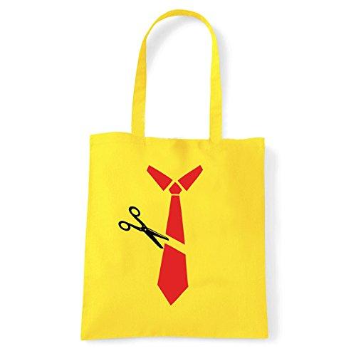 Art T-shirt, Borsa Shoulder cravatta-tagliata Giallo