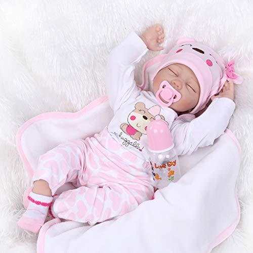 Mr.Better Lebensecht schlafendes neugeborenes 55 cm 22 inch Weiches Silikon Vinyl Reborn Baby Puppen realistisches Kind Handgemachtes Mädchen (Reborn Puppen Silikon-körper Baby)