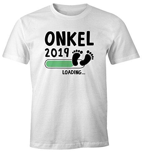 MoonWorks Herren T-Shirt Papa Opa Onkel Patenonkel 2019 Loading Geschenk  für werdenden Onkel Geschenk Geburt Baby Weiß-Schwarz L a0ee90333b